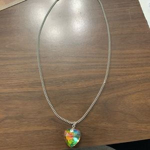 Multicolor heart pendant necklace w/ silver chain